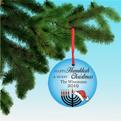 Personalized Happy Hannukah Merry Christmas Menorah and a Santa hat Ornament decoration