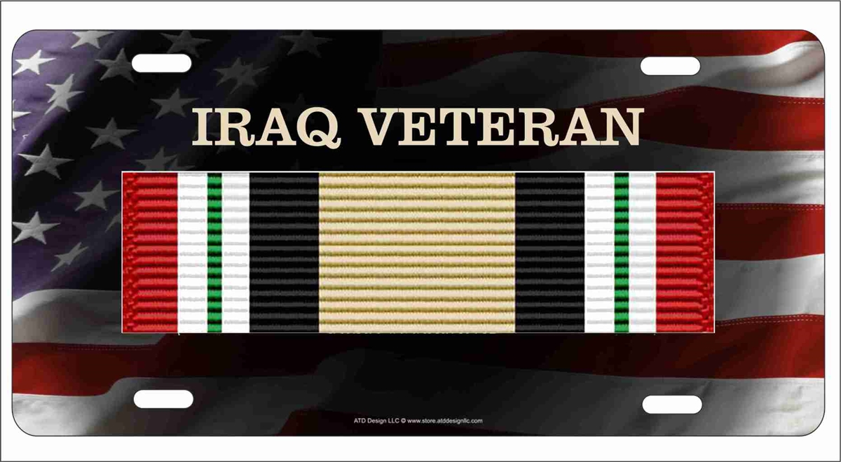 Details about  /Iraq Campaign Veteran Veteran Ribbon Design Aluminum License Plate
