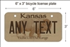 Kansas state Mini License Plate for Bicycles, Bikes, Wheelchairs, Golf Carts personalized for you. can also be used as a door sign.