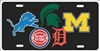 Michigan sport teams combined logos license plate Personalized License Plates, Decorative License Plates, Front License Plates, Car Tags, airbrush
