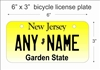 New Jersey state Mini License Plate for Bicycles, Bikes, Wheelchairs, Golf Carts personalized for you. can also be used as a door sign.