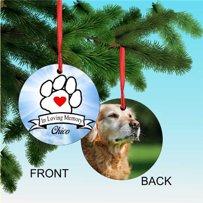 In Loving Memory personalized Pet memorial ornament with a picture of your pet