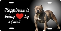 personalized novelty license plate Happiness is being loved by a Pitbull Custom License Plates, Personalized License Plates, Decorative License Plates, Front License Plates, Car Tags, airbrush