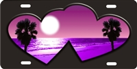 Purple beach scene inside double hearts personalized novelty license plate for lovers