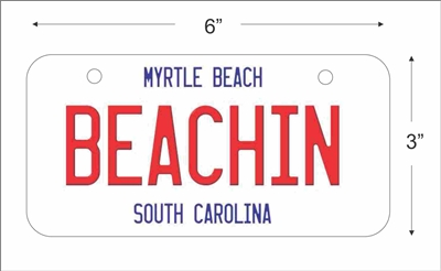 beachin Mini License Plate for Bicycles, Bikes, Wheelchairs, Golf Carts personalized with your design custom vanity Decorative plate