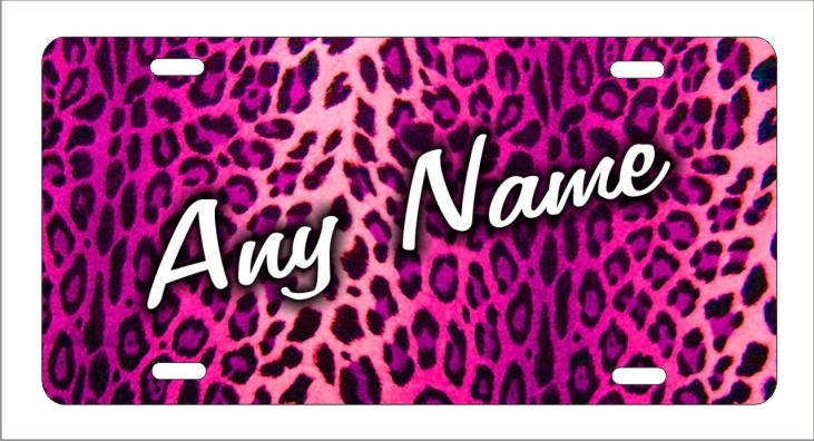 Pink Cheetah Leopard Print Personalized Novelty Front License Plate Decorative Car Tag