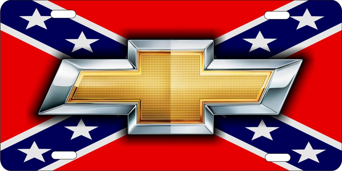 Chevrolet Bowtie On Confederate Flag Personalized Novelty Front