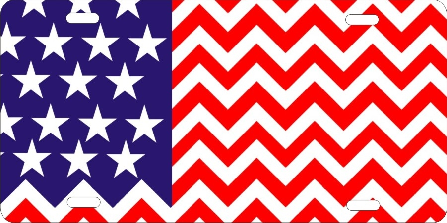 American Flag Chevron Pattern Design Personalized Novelty License Cool Cheveron Pattern
