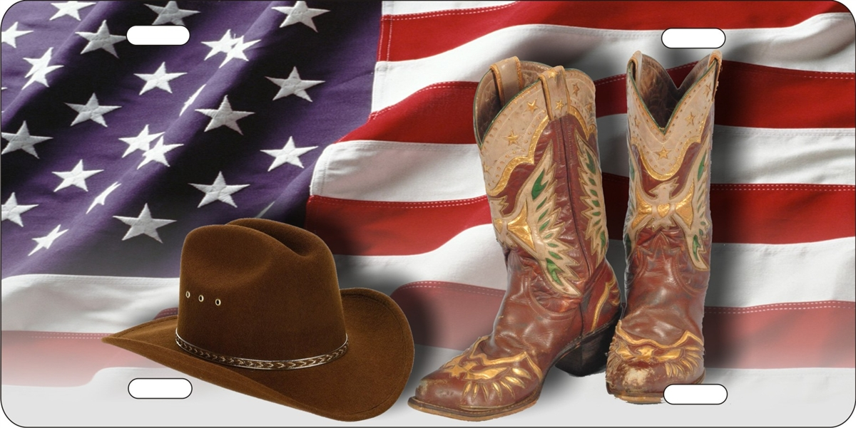 Personalized Novelty License Plate Cowboy Boots And Hat