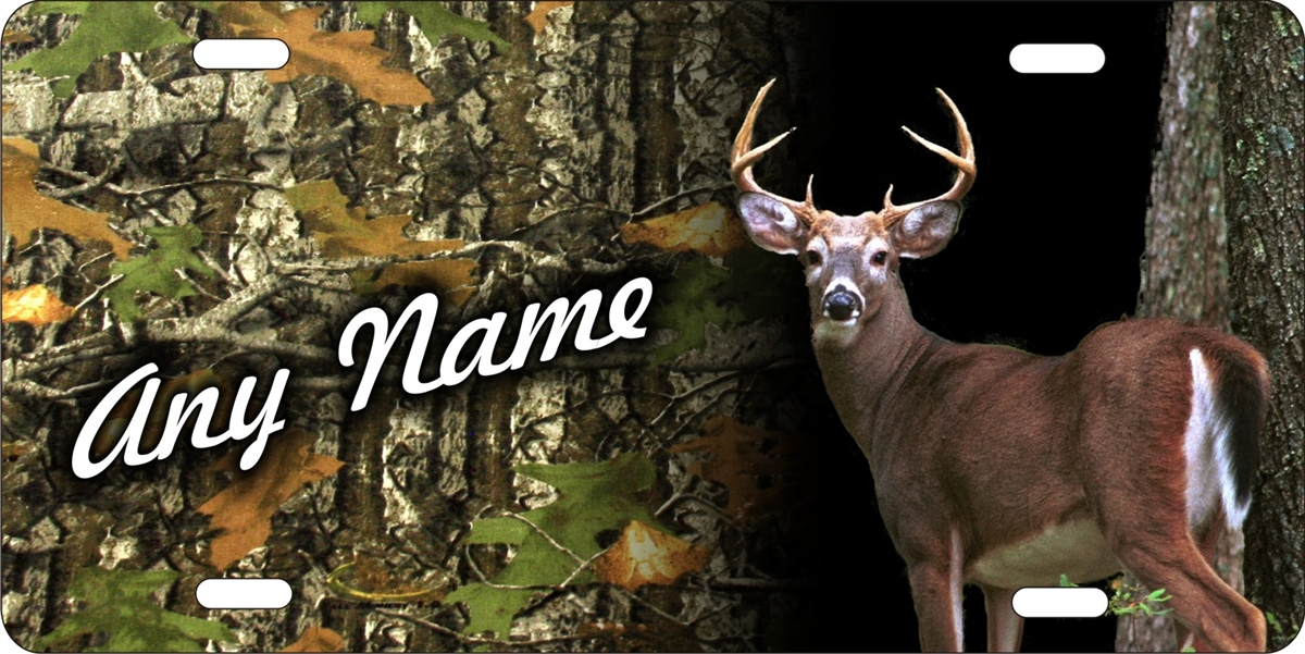 Personalized Novelty License Plate Deer Hunter Camo Background Deer Hunting Decorative Vanity