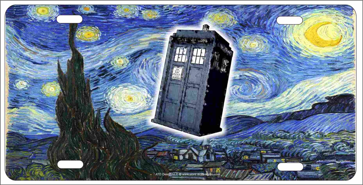 Customized License Plates >> van gogh the starry night Dr Who Tardis personalized customized novelty front license plate ...
