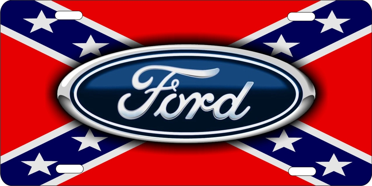 Personalized Novelty License Plate Ford On Rebel Flag Custom License