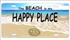 The Beach is my Happy Place beach scene Smiley Face in The Sand novelty license plate