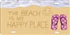 The Beach is My Happy Place Smiley Face and Flipflops in the sand personalized novelty front license plate decorative vanity car tag