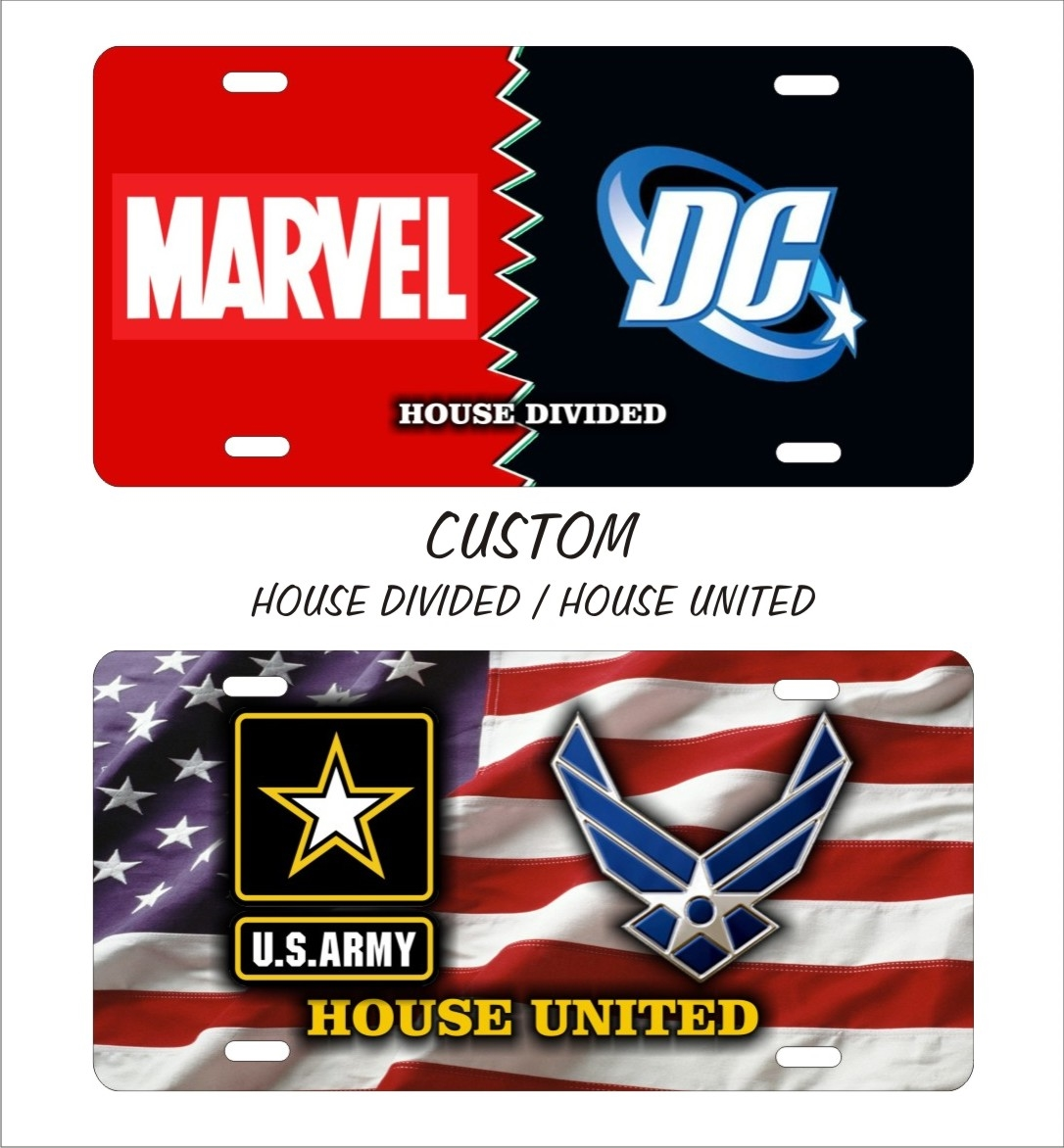 House Divided House United Any Sports Teams Custom License Plates
