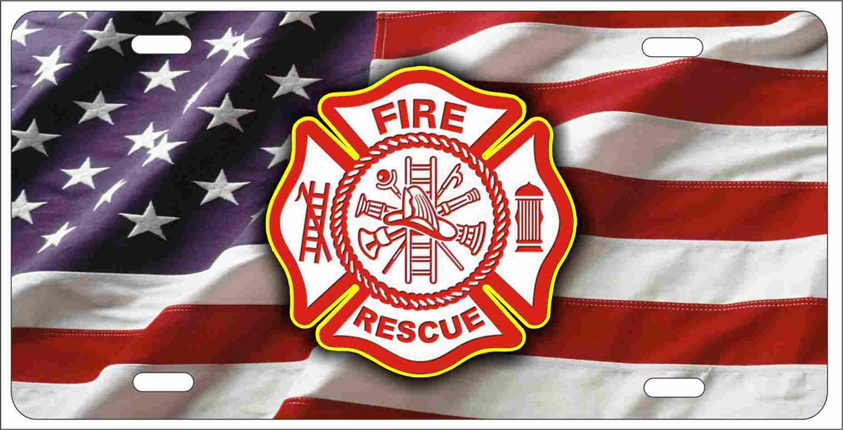 Fire Rescue Maltese Cross On American Flag Fire Dept Personalized Novelty Front License Plate