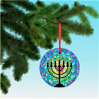 Menorah on stained glass, printed on light aluminum Hanukkah Ornament Christmas decoration