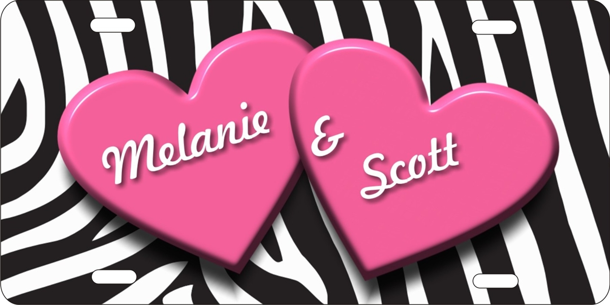 ATD Two Hearts Personalized Novelty Front License Plate Custom Decorative Love Car Tag