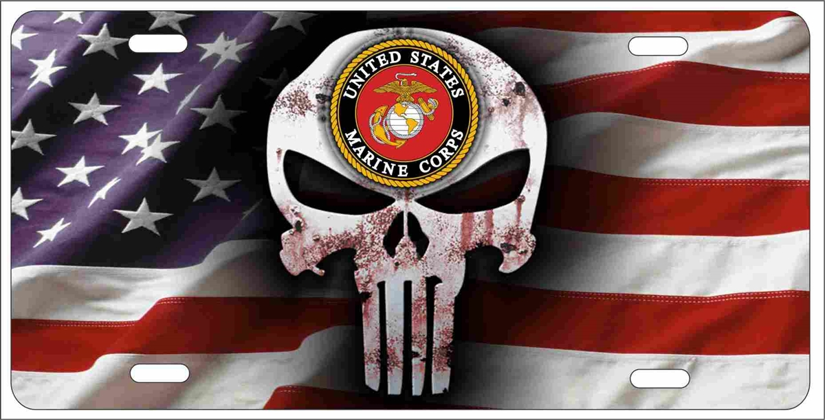 The Punisher Us Marines On American Flag Personalized