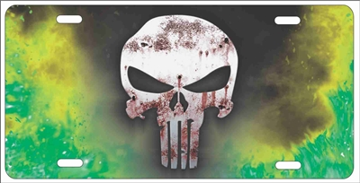 The Punisher With Green Fire Background Personalized Novelty License Plate Custom Made Punisher