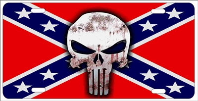 Personalized Front License Plates >> The Punisher on rebel flag personalized novelty license ...