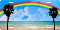 Rainbow Beach Scene personalized novelty front license plate car tag Custom License Plates, Personalized License Plates, Decorative License Plates, Front License Plates, Car Tags, airbrush