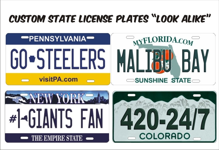 "state official license plates ""look alike"" custom license plates"