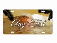 personalized airbrush wave beach scene license plate