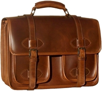 Oversized Scholar 3 Compartment w/pockets leather briefcase
