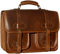 Oversized Scholar leather laptop w/pockets briefcase
