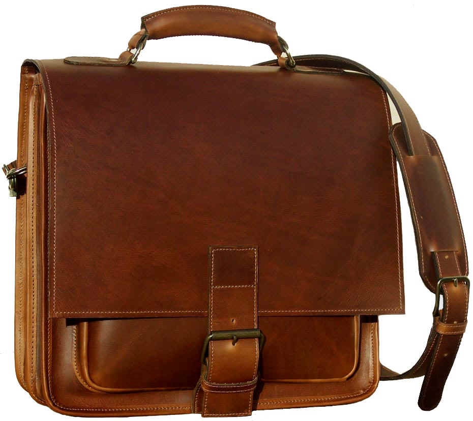 18191a9c8891 Barrister Two Compartment Leather Messenger Bag. Made in USA ...