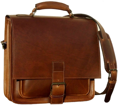 Barrister Two Compartment Leather Messenger Bag
