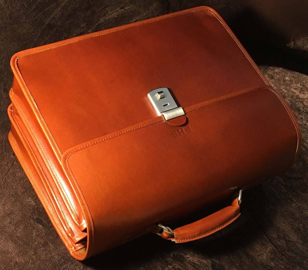 8653a32b3 Advocate 3 Compartment leather briefcase. Made in USA | Customhide.com