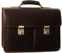 Litigator 2 Compartment Leather Lawyer Briefcase