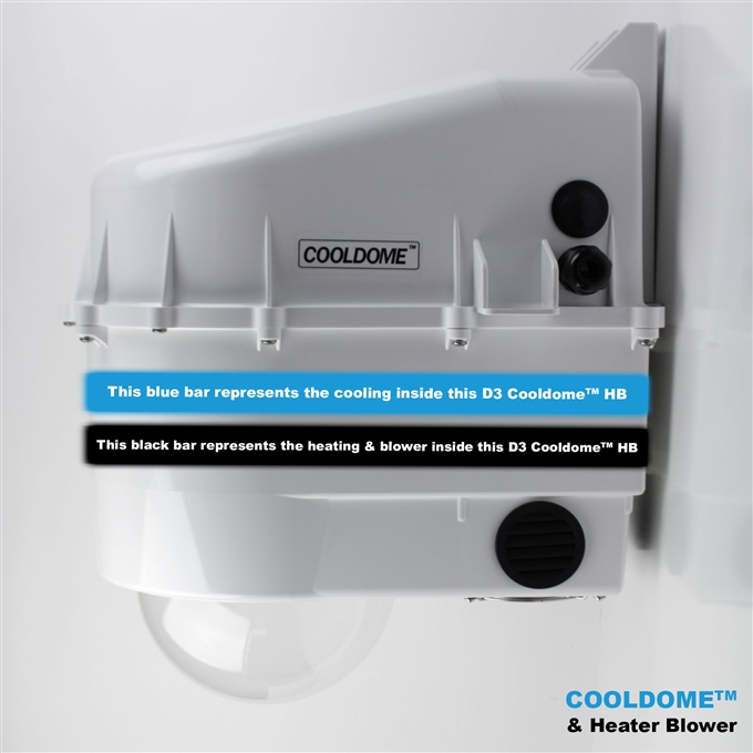 Dotworkz D3 COOLDOME™ Active Cooling and Heater Blower Camera Enclosure (D3-CD-HB IP66)