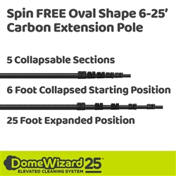 DomeWizard 25 Foot Spin FREE Oval Shape Carbon Pole (DW-OVAL25)