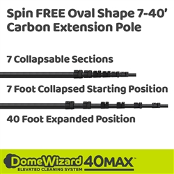 DomeWizard 40 Foot Spin FREE Oval Shape Carbon Pole (DW-OVAL40)