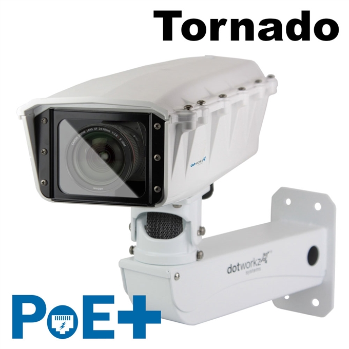 S-Type IP66 Tornado PoE+ Camera Housing and Stainless Steel Arm (ST-TR-POE-P-SS)