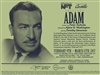Arts Express: Adam - A Biographical Solo Play- Pair of Tickets
