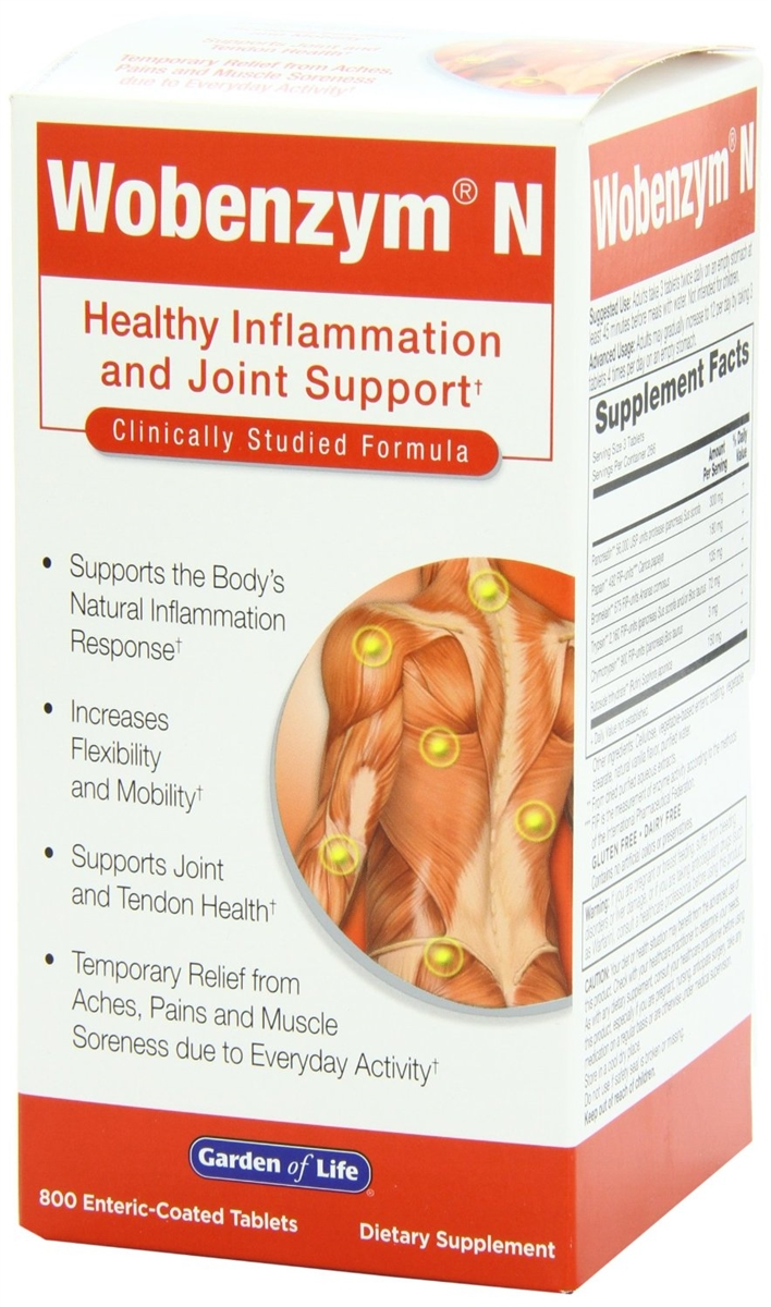 Wobenzym, Wobenzym N, 800 Enteric-Coated Tablets Healthy Inflammation and  Joint Support