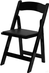 FREE SHIPPING - BLACK  WOOD  Padded Folding Chairs