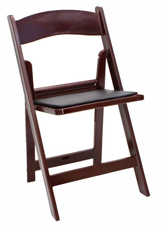 Mahogany  Resin Padded Folding Chairs, Cheap Resin Wedding Chairs, Discount Black Wedding Chairs, Sale Prices