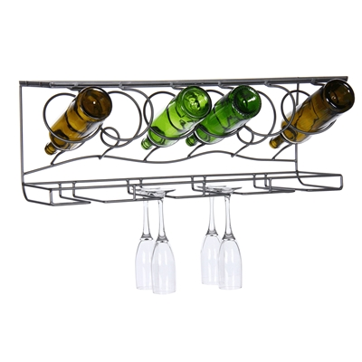 Wine Bar Stemware & Bottle Wall Rack