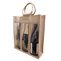 Jute Vino-Sack, Three Bottle, with Window