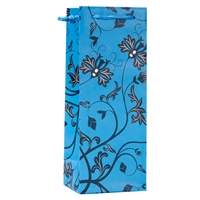 Wine Gift Bag, Teal/Black Floral