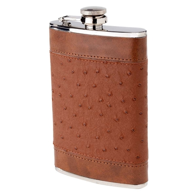 Flask, 8 oz Brown Ostrich