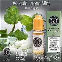 Strong Mint flavored electronic cigarette e liquid is the tops. This is a full bodied, full flavor minty explosion that will satisfy the taste buds and give you a throat hit that you will want to have all day long.