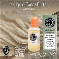 You will get a slightly nutty, and ever-so-light flavor of chocolate when you vape our Cocoa Butter flavored electronic cigarette e-liquid.