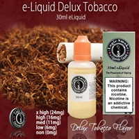 If you've been searching for the right tobacco flavored e liquid that is like an ultra light cigarette, then Deluxe Tobacco e liquid is the one for you!