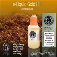 Gold Hill vapor liquid is a tobacco flavor that is modeled after the golden version of a well-known cigarette brand.